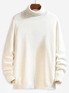 Casual Solid Color Turtleneck Sweater - White L