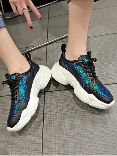 chic Sequins Lace Up Patchwork Sneakers - BLACK EU 37 Mobile