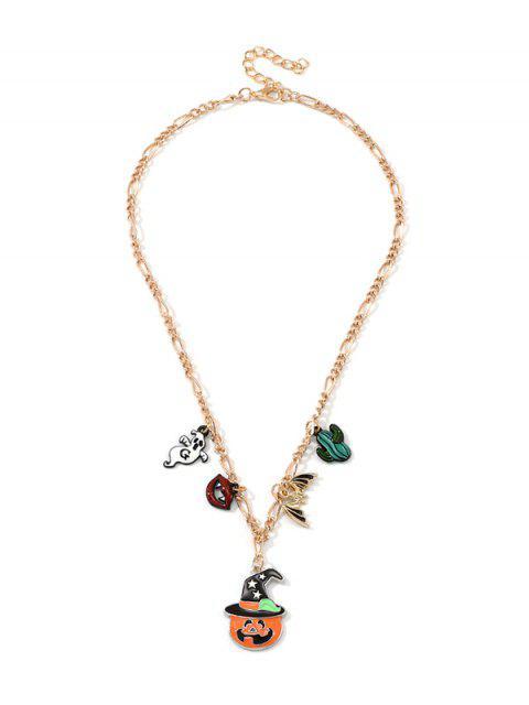 Хэллоуин Подвеска тыквы и призрака Цепное Ожерелье - Многоцветный-Б  Mobile