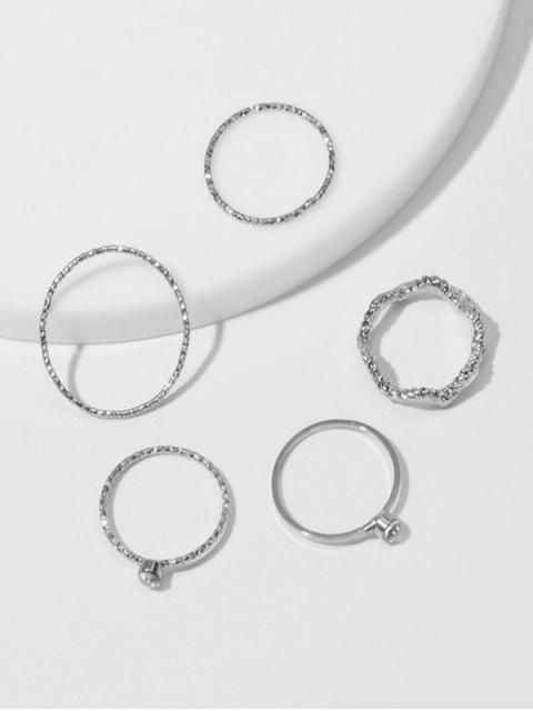 women's Simple Moon Star Chain Necklace And Rings Set - SILVER  Mobile
