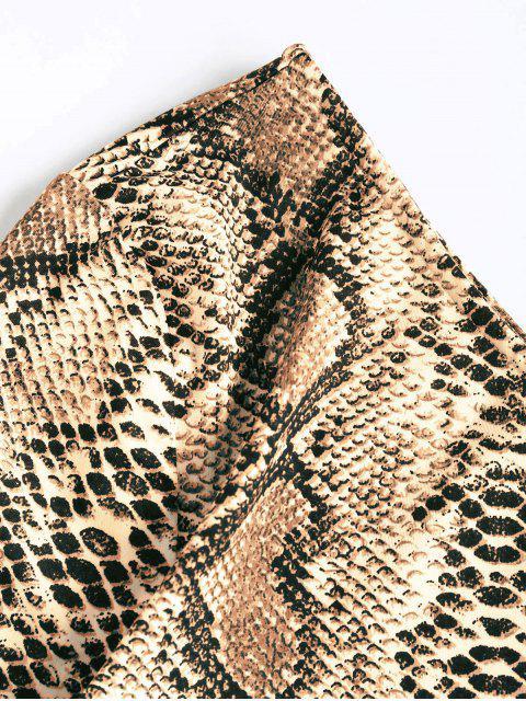 trendy ZAFUL One Shoulder Snakeskin Leopard Long Sleeve Crop Tee - MULTI-C XL Mobile