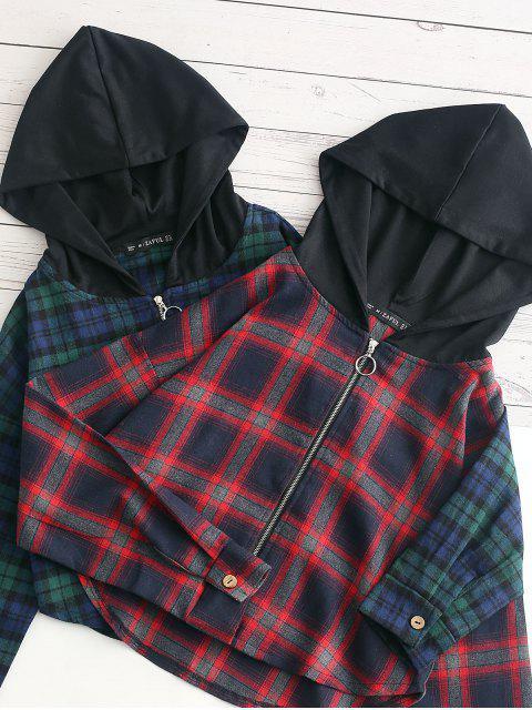 womens ZAFUL Plaid Curved Hem Crop Hooded Jacket - MULTI-A M Mobile