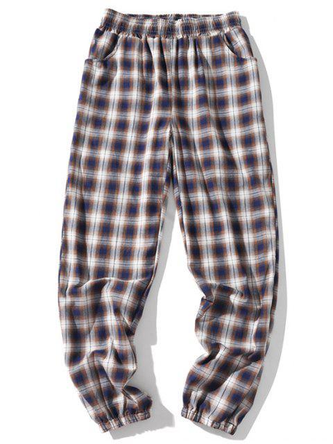 shop Plaid Multi-pocket Elastic Casual Jogger Pants - DARK KHAKI 2XL Mobile