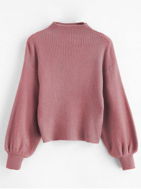 shops Pullover Blouson Sleeve Ribbed Funnel Sweater - PINK ONE SIZE Mobile
