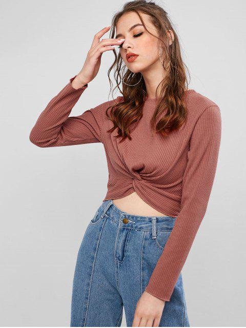 womens ZAFUL x Alexis Ricecakes Ribbed Twist Cropped Top - BROWN M Mobile