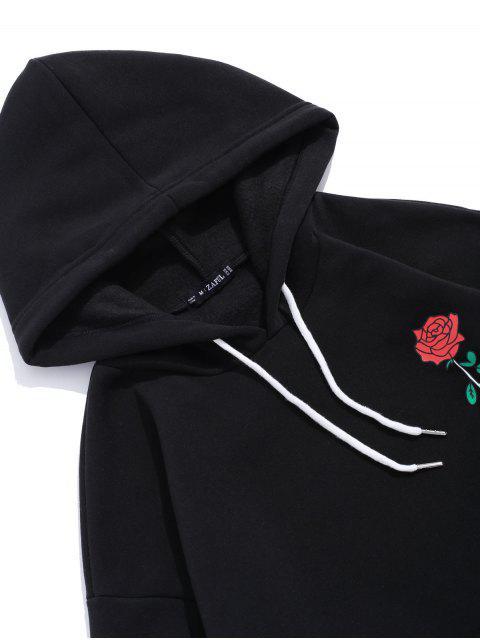 ladies Rose Letter Fleece Kangaroo Pocket Pullover Hoodie - BLACK M Mobile