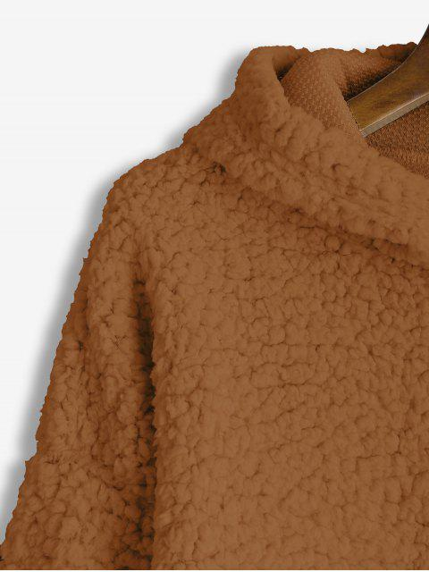 affordable Drop Shoulder Fluffy Boxy Hoodie - LIGHT BROWN L Mobile