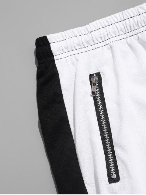 PantalonesdebloqueodeColorEmpalmadoconCremallerayCordón - Blanco S Mobile