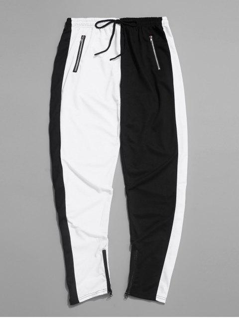 fancy Color-blocking Spliced Zip-hem Sport Drawstring Pants - WHITE L Mobile