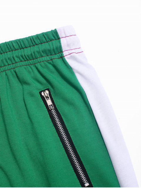 unique Color-blocking Spliced Zip-hem Sport Drawstring Pants - GREEN L Mobile