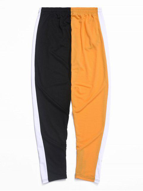 PantalonesdebloqueodeColorEmpalmadoconCremallerayCordón - Naranja S Mobile