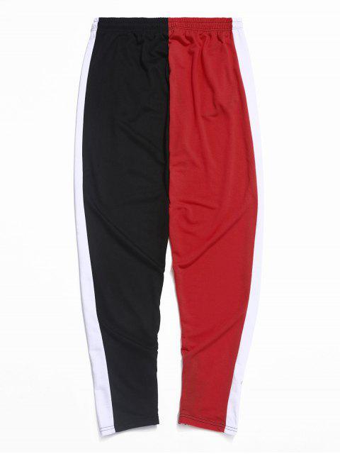 PantalonesdebloqueodeColorEmpalmadoconCremallerayCordón - Rojo XS Mobile