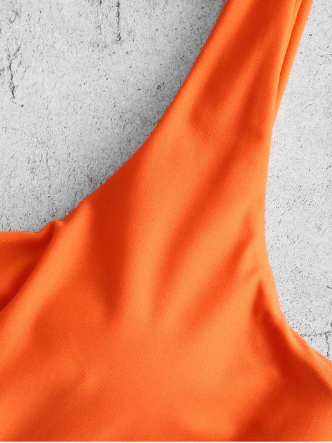 ZAFUL Цветной блок С бантом Монокини Купальник - Манго-оранжевый S Mobile