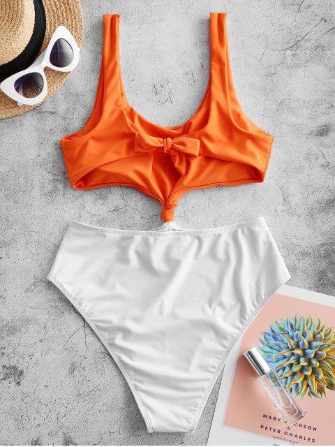 shop ZAFUL Colorblock Knotted Monokini Swimsuit - MANGO ORANGE M Mobile
