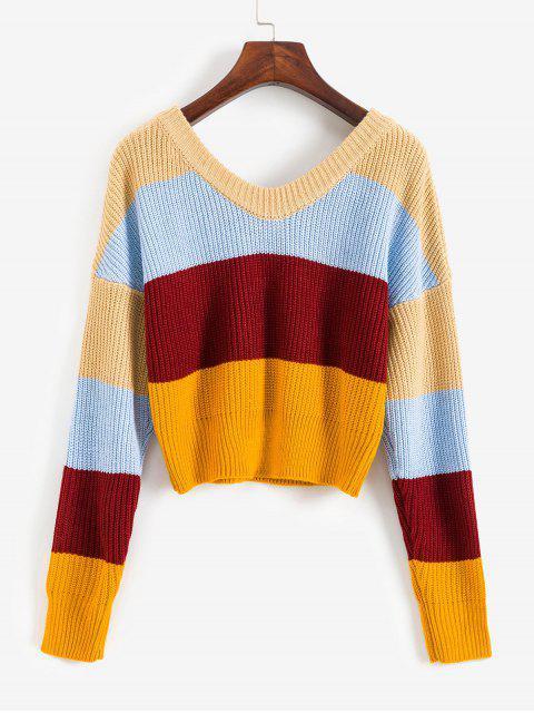 online ZAFUL Tie Back Colorblock Stripes V Neck Sweater - MULTI-A L Mobile