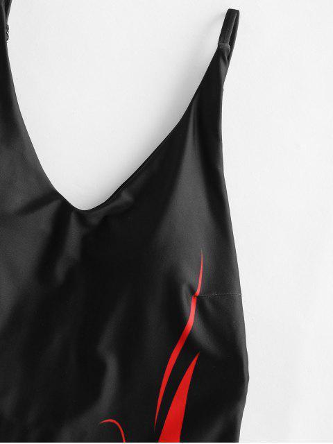 Llama ZAFUL Imprimir High Cut sin respaldo de una sola pieza del traje de baño - Negro XL Mobile