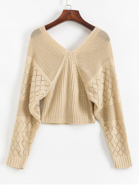 ladies V Back OpenworkLantern Sleeves Sweater - APRICOT M Mobile