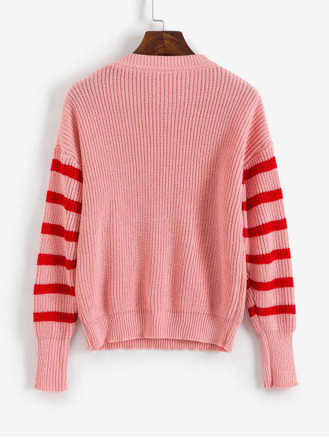 lady Striped Cable Knit Sweater - ROSE M Mobile