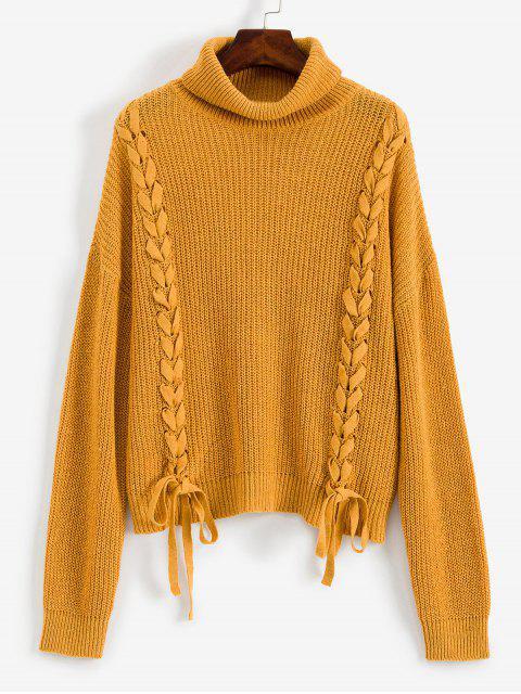 buy ZAFUL Lace Up Turtleneck Drop Shoulder Sweater - BROWN SUGAR XL Mobile