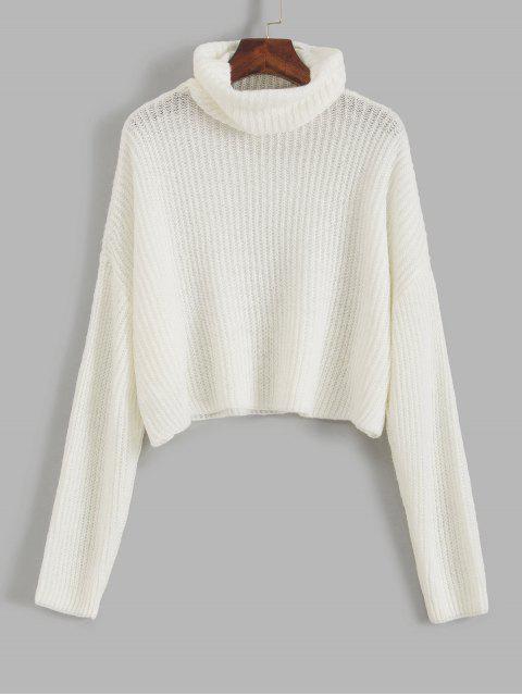 womens ZAFUL Turtleneck Drop Shoulder Crop Sweater - MILK WHITE XL Mobile