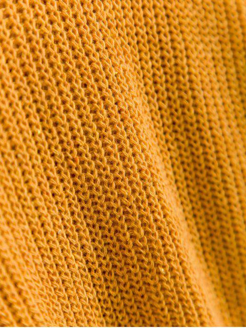 ladies ZAFUL Lace Up Turtleneck Drop Shoulder Sweater - BROWN SUGAR L Mobile