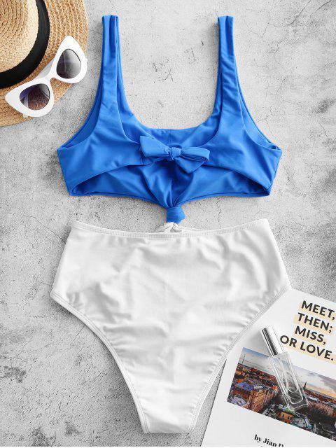 unique ZAFUL Colorblock Knotted Monokini Swimsuit - DODGER BLUE S Mobile