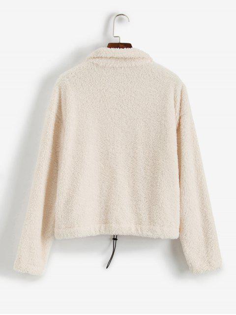 ZAFUL Sweat-shirt Fourré Zippé Bague en O à Goutte Epaule - Blanc Chaud M Mobile