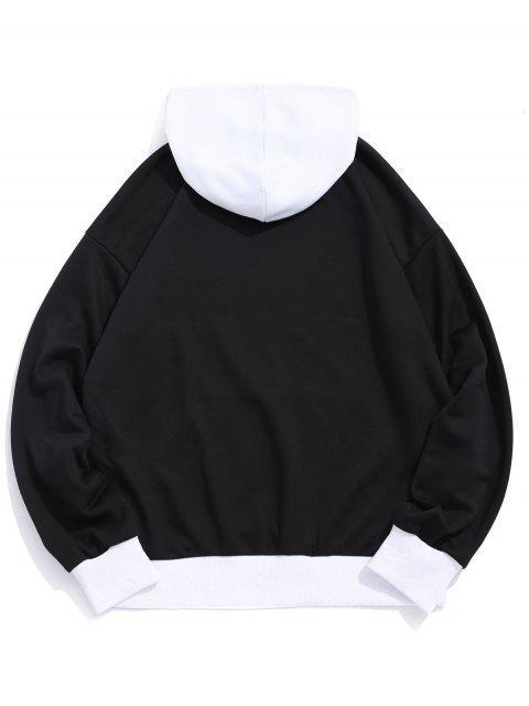 ladies USA American Flag Color-blocking Splicing Pullover Hoodie - BLACK M Mobile