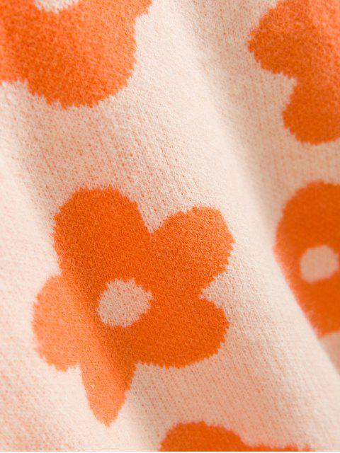 womens Crew Neck Drop Shoulder Floral Graphic Sweater - ORANGE ONE SIZE Mobile