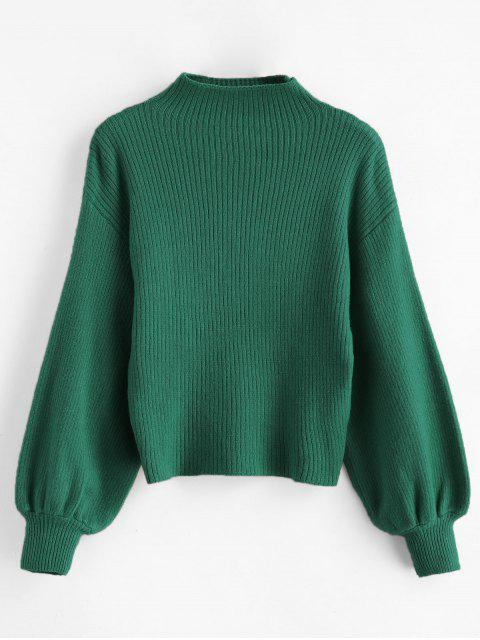 latest Pullover Blouson Sleeve Ribbed Funnel Sweater - GREEN ONE SIZE Mobile
