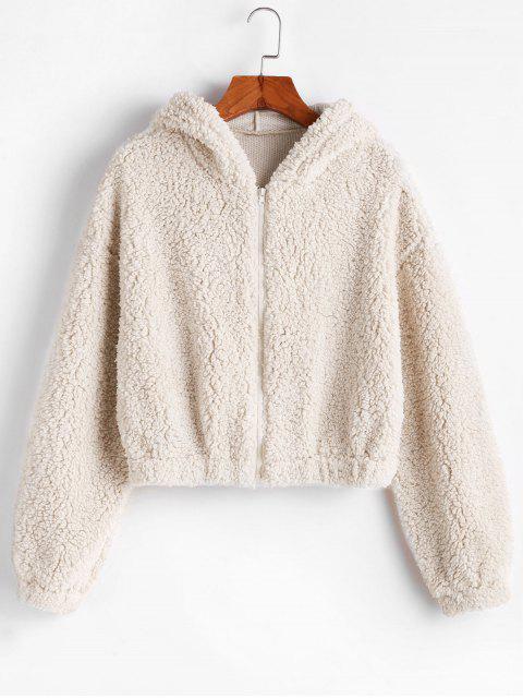 shop ZAFUL Hooded Zip Up Fluffy Teddy Jacket - MILK WHITE XL Mobile