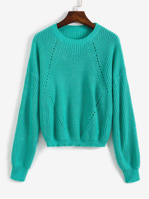 affordable Drop Shoulder Openwork Sweater - MACAW BLUE GREEN L Mobile