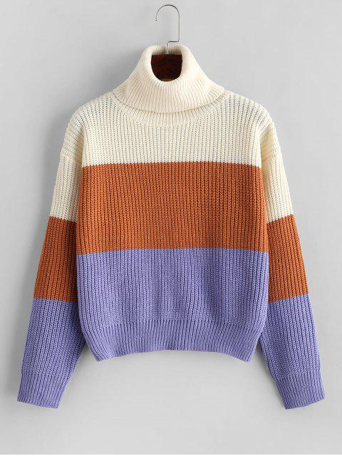 womens ZAFUL Turtleneck Colorblock Pullover Sweater - MULTI ONE SIZE Mobile