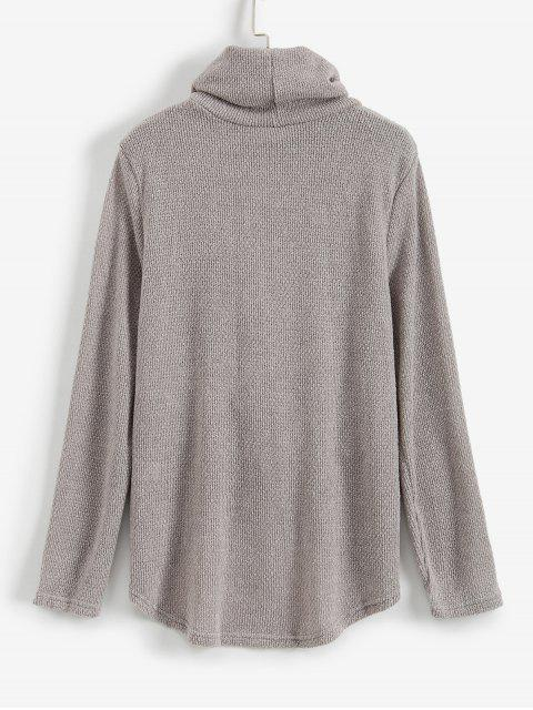 shops Twist Front Cowl Neck High Low Sweater - GRAY M Mobile