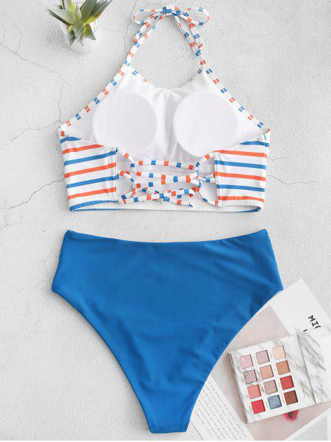 ZAFUL halter rayado colorido traje de baño de Tankini reversible - Azul Océano  L Mobile