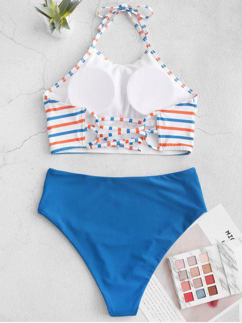 ZAFUL halter rayado colorido traje de baño de Tankini reversible - Azul Océano  XL Mobile