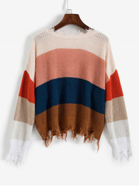 outfit ZAFUL Colorblock Ripped V Neck Sweater - MULTI-A M Mobile