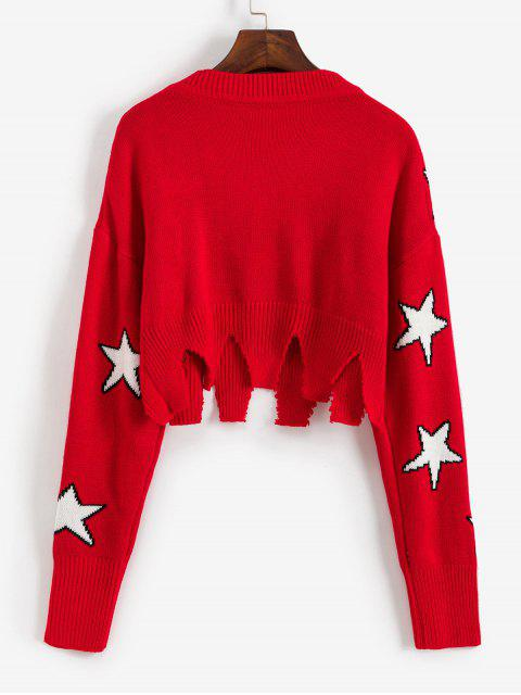 new Ripped Star Graphic Crop Sweater - RED S Mobile
