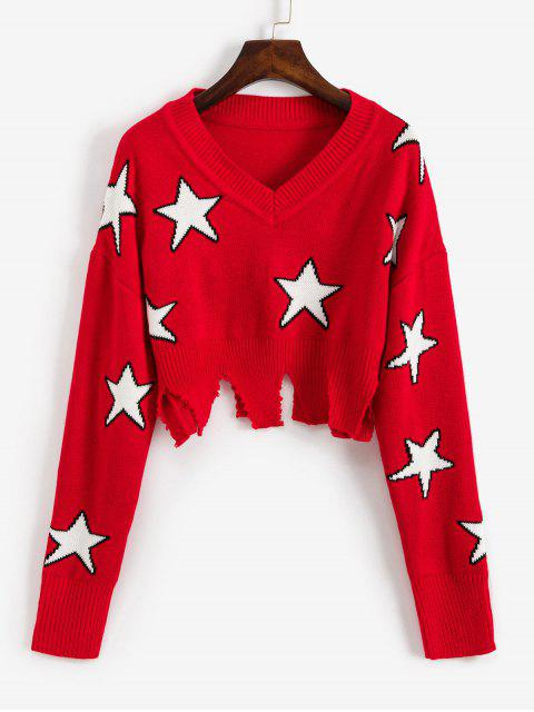 sale Ripped Star Graphic Crop Sweater - RED L Mobile