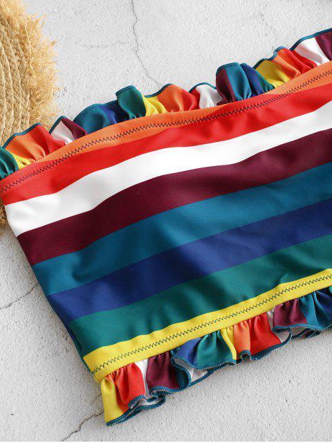 ZAFUL Frilled rayado del arco iris palabra de honor de Tankini del traje de baño - Azul Eléctrico M Mobile