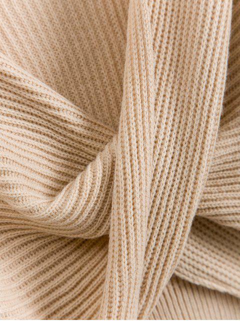 unique V Neck Cropped Twist Front Sweater - APRICOT S Mobile