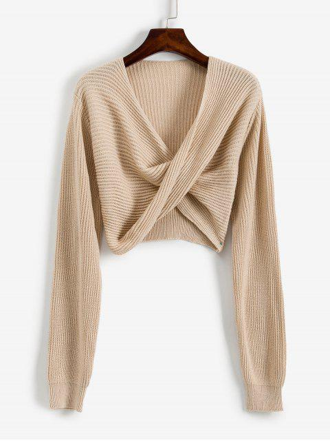 womens V Neck Cropped Twist Front Sweater - APRICOT XL Mobile