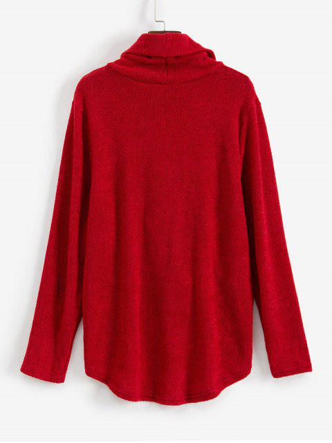 women's Twist Front Cowl Neck High Low Sweater - RED M Mobile