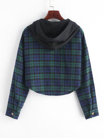 ZAFUL Plaid Curved Hem Crop Hooded Jacket, Multi-b