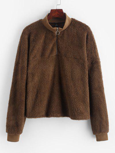 ZAFUL Drop Shoulder Quarter Zip Fluffy Teddy Sweatshirt - Tiger Orange M