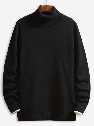 Casual Solid Color Turtleneck Sweater - Black M
