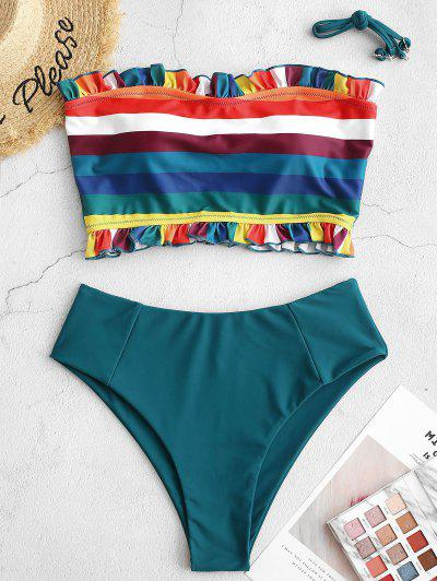 ZAFUL Frilled Rainbow Striped Bandeau Tankini Swimsuit - Peacock Blue S