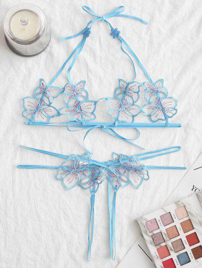 Halter Floral Crotchless Lingerie Set - Blue