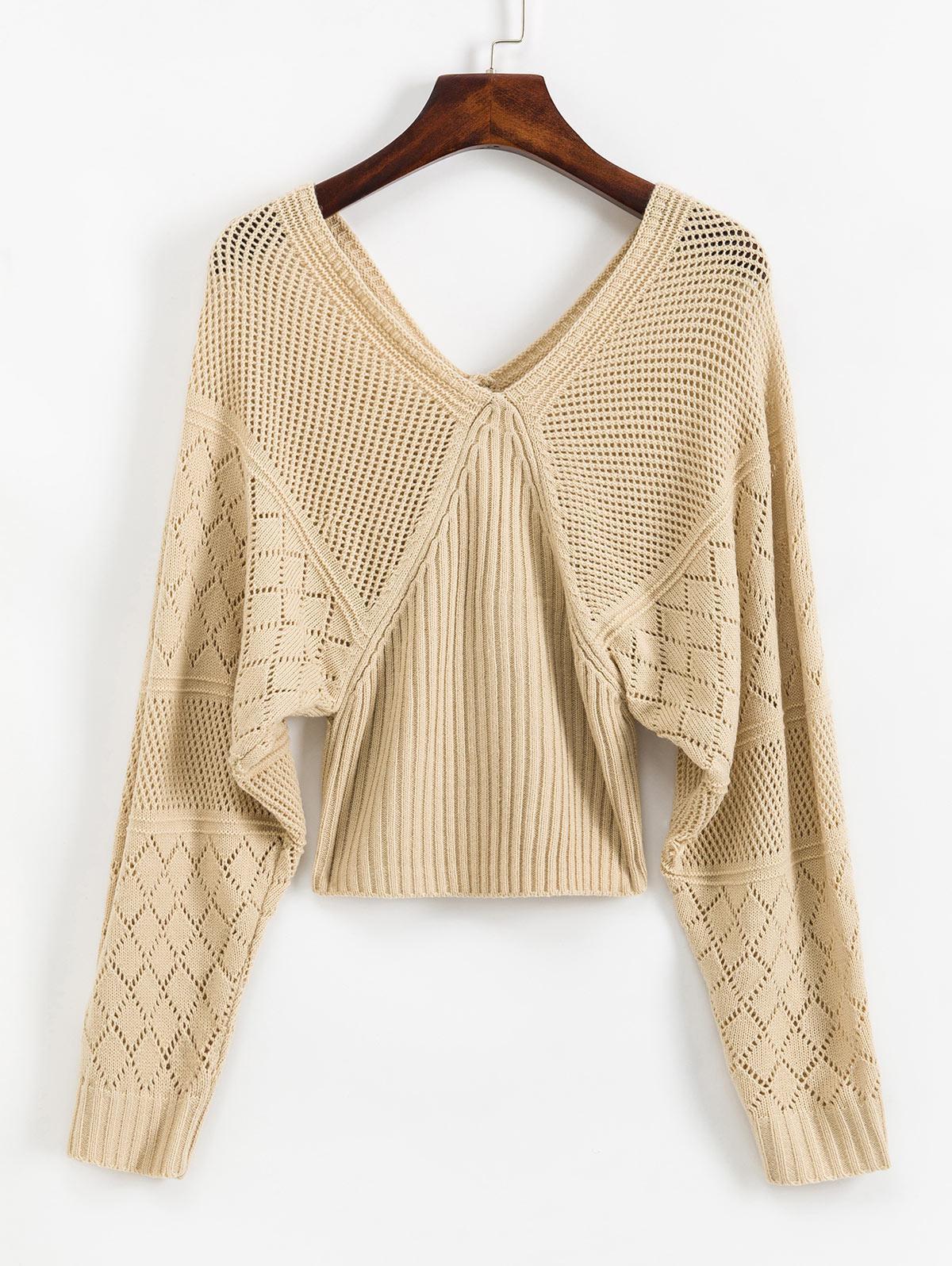 V Back OpenworkLantern Sleeves Sweater