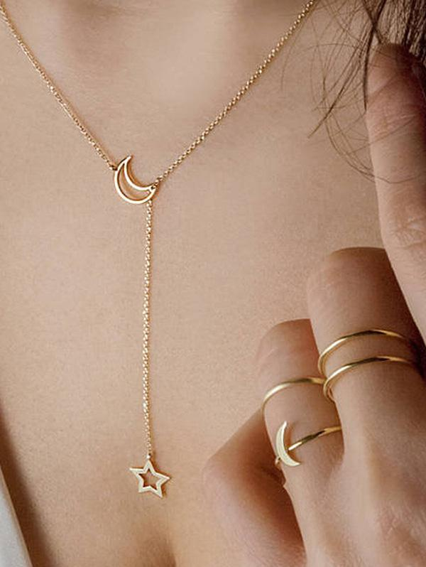 Simple Moon Star Chain Necklace And Rings Set фото